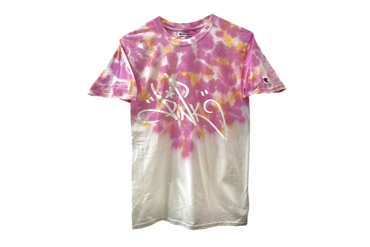 museum graffiti artist pink tie-dye champion athletic shirt summer