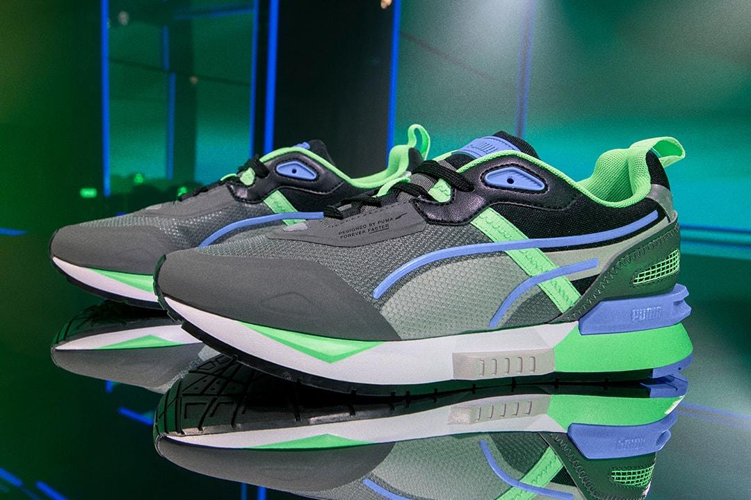 PUMA Mirage Tech Sneaker footwear edm electronic dance music dj snake purple green neon bright colors dubai release info trainers jogging retro track and field