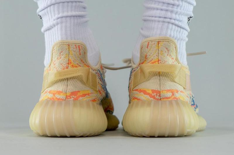kanye west adidas yeezy boost 350 v2 mx oat GW3773 tan orange yellow blue pattern official release date info photos price store list buying guide