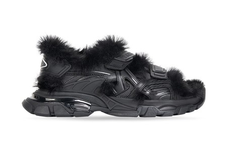 Balenciaga's Faux Fur-Covered Track Sandal Is Next Level