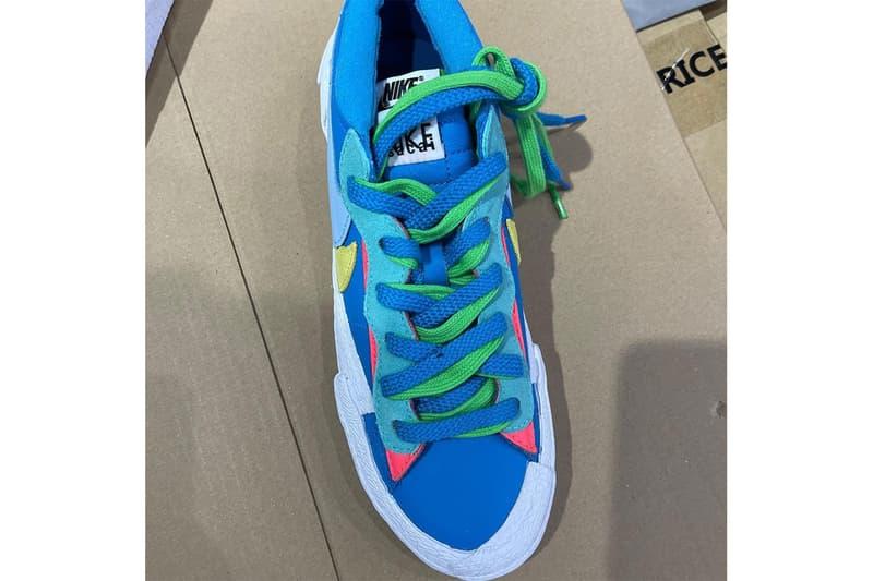 KAWS sacai Nike Blazer Low Closer Look Información de lanzamiento dm7901-400 dm7901-600