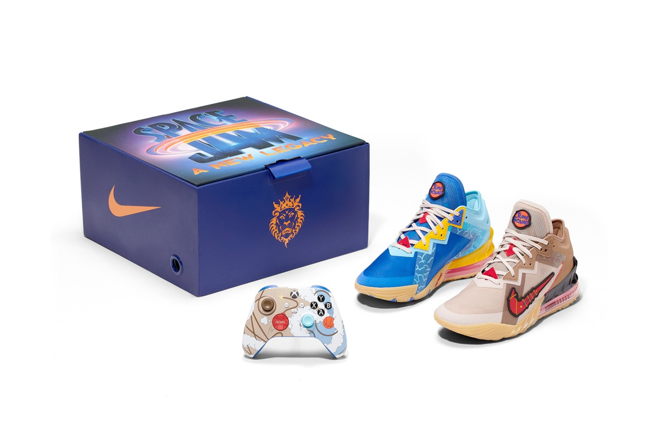 space jam a new legacy microsoft xbox nike basketball lebron james 18 low wile e coyote road runner bundle controller shoes jason petrie elliot hsu designer interview official release date info photos price store list buying guide