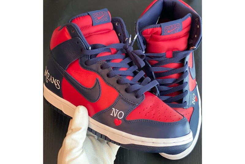 """Check Out the Supreme x Nike SB Dunk High """"By Any Means"""" in Navy and Red"""