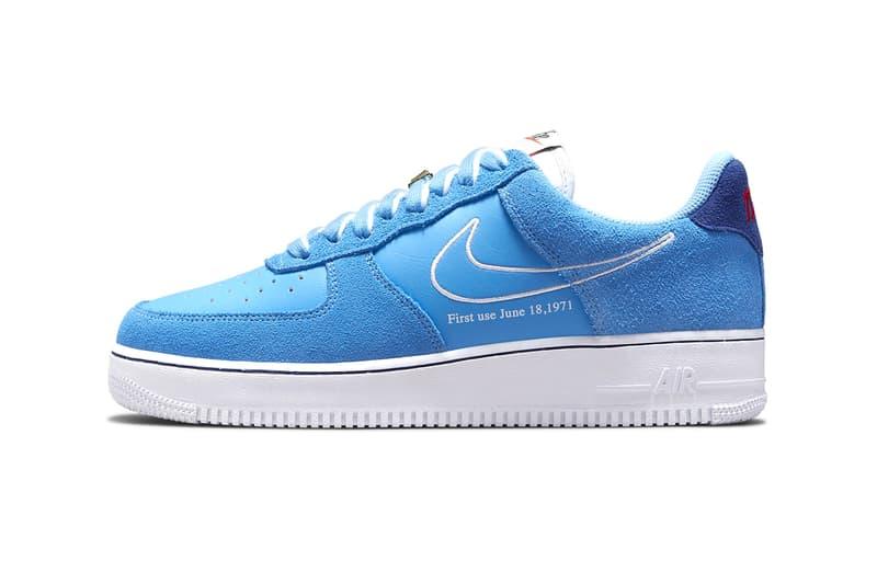 Nike Air Force 1 First Use University Blue White Deep Royal Blue Leather Suede Swoosh 18 de junio de 1971 Imágenes de información de lanzamiento
