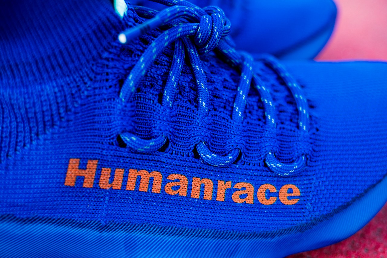 Pharrell Williams adidas Humanrace Sichona Blue First Look In Hand Exclusive HYPEBEAST Samples Rare Lil Uzi Vert Release Information Drop Date Three Stripes
