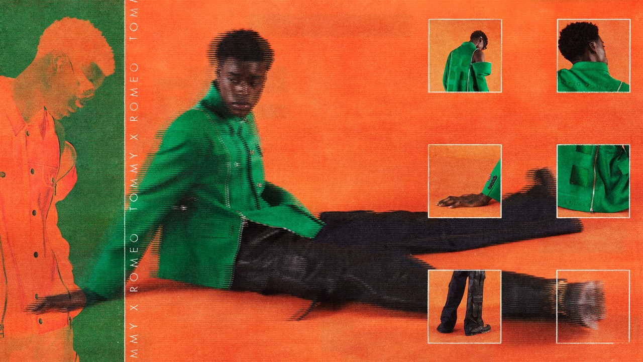 TommyXRomeo BIPOC communities models Ikram Abdi Omar, Aaliyah Hydes, Hidetatsu Takeuchi and Babacar N'Doye murals upycled DIY color mixed preppy button down sailing biker jackets romeo hunte tommy hilfiger interview feature Annan Affotey Uzo Njoku spotlights BIPOC creatives contemporary edgy pattern heavy staple pieces collection capsule collaboration mentee mentor fall winter 2021 campaign lookbook