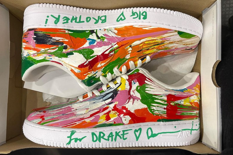 Drake Receives Hand-Painted Nike Air Force 1s from Damien Hirst
