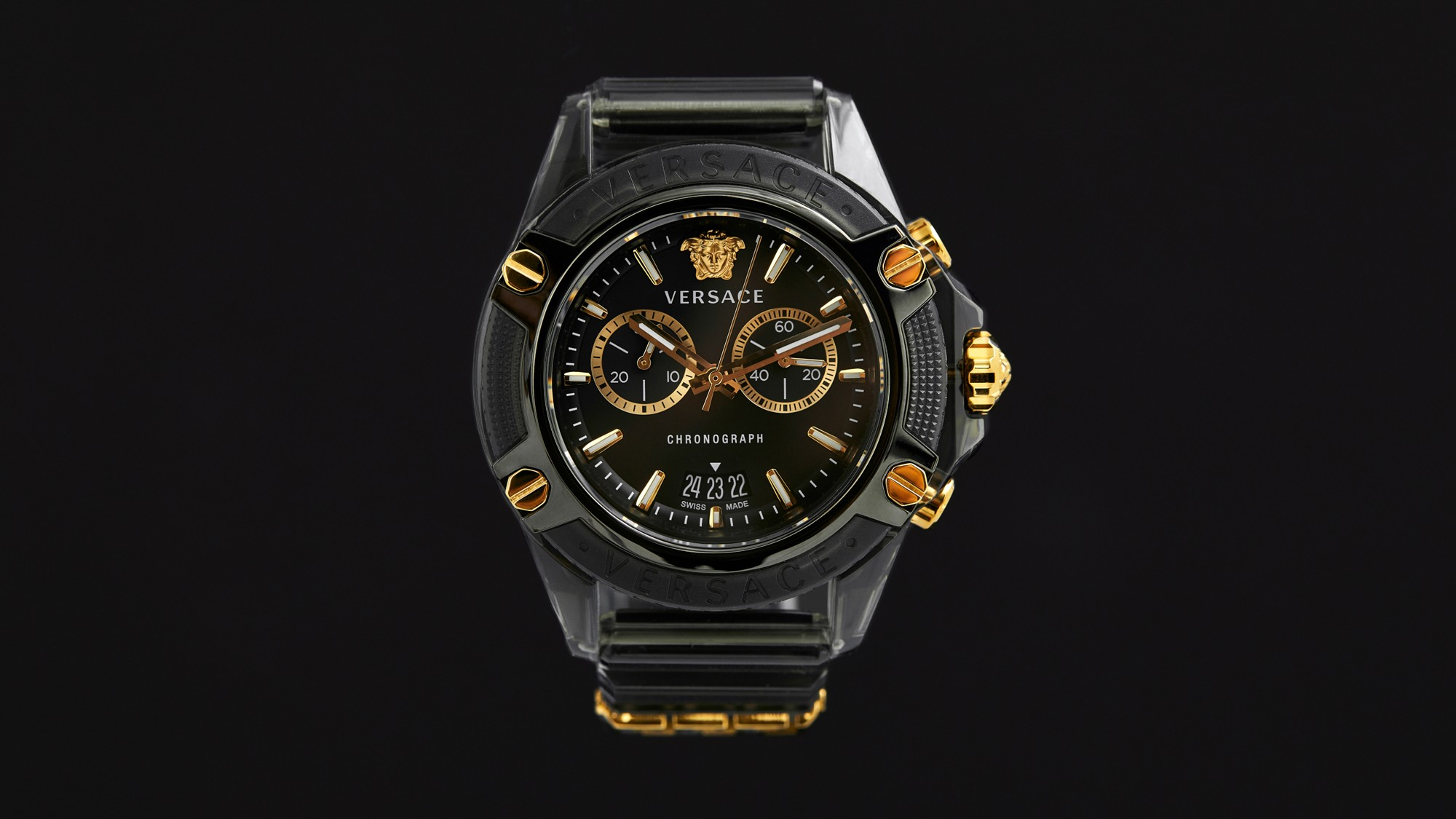versace Donatella Versace avant garde classic designs, sophisticated functionalities, richer details and flawless personal style all-new Versace Icon Active chronograph watch street culture references and a sporty, minimalistic design Greek key metal loop Medusa that sits at 12h Greek key Greca motif inner ring IP champagne transparent polycarbonate opulent