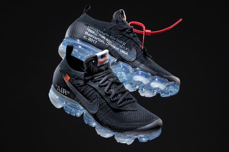 """Photo De La Virgil Abloh x Nike VaporMax """"Black"""" Sur Fond Noir"""