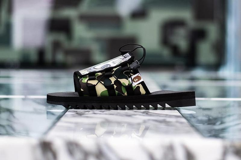 Photo de la collab BAPE x Suicoke