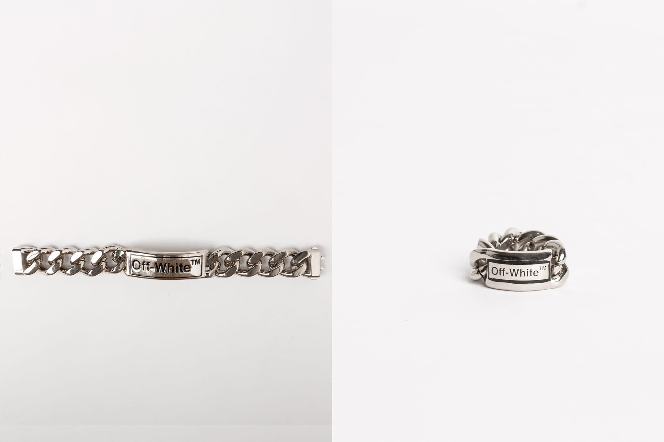 Off-White™ sort une série de bijoux avec bagues, bracelets et boucles d'oreilles