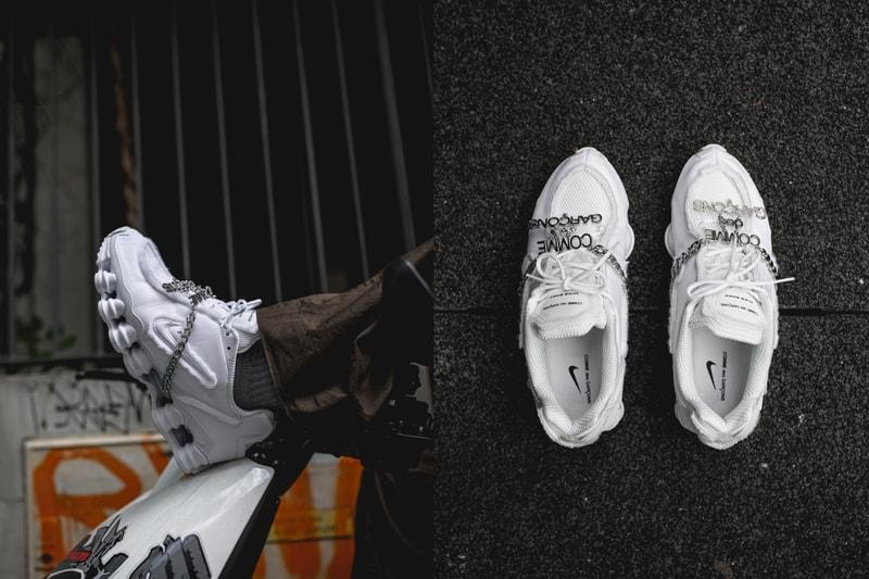 Gros plan sur la Nike Shox TL COMME des GARÇONS