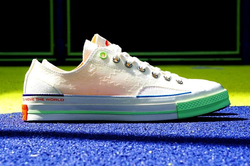 Gros plan sur les sneakers de la nouvelle collab Converse x Pigalle