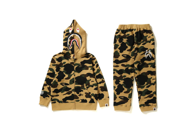 bape a bathing ape baby milo nigo pharrell Williams Kanye west japan streetwear kids children spring summer 2018 camouflage camo tracksuit shark
