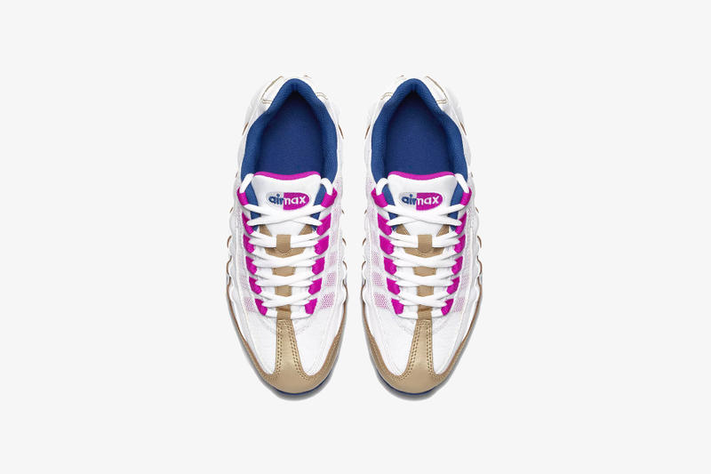 nike air max 95 le kids sneakers white blue pink gold where to buy