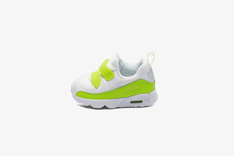 nike air max tiny 90 ninety shoes sneakers toddlers babies kids infants children green white neon yellow swoosh baby slip on