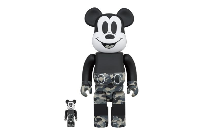A BATHING APE® x Medicom Toy 聯手打造 Mickey Mouse 黑白 BE@RBRICK 玩偶