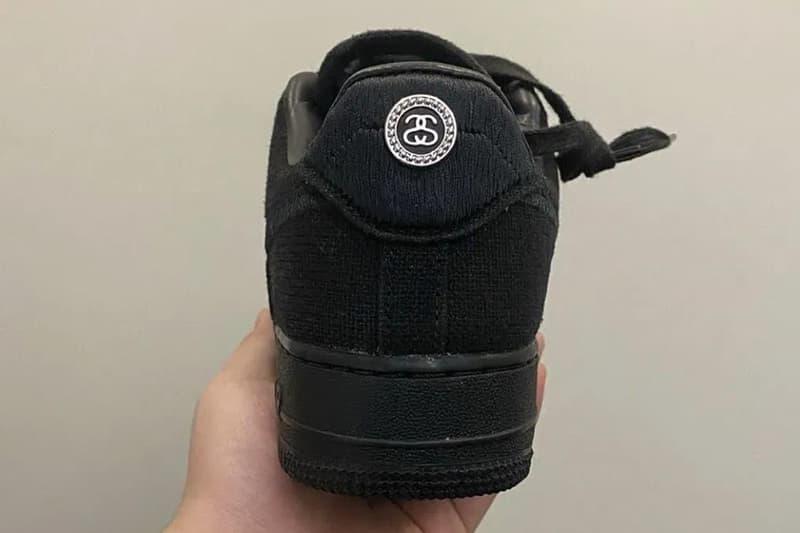 率先近覽完整 Stüssy x Nike Air Force 1 全新聯乘鞋款全黑配色
