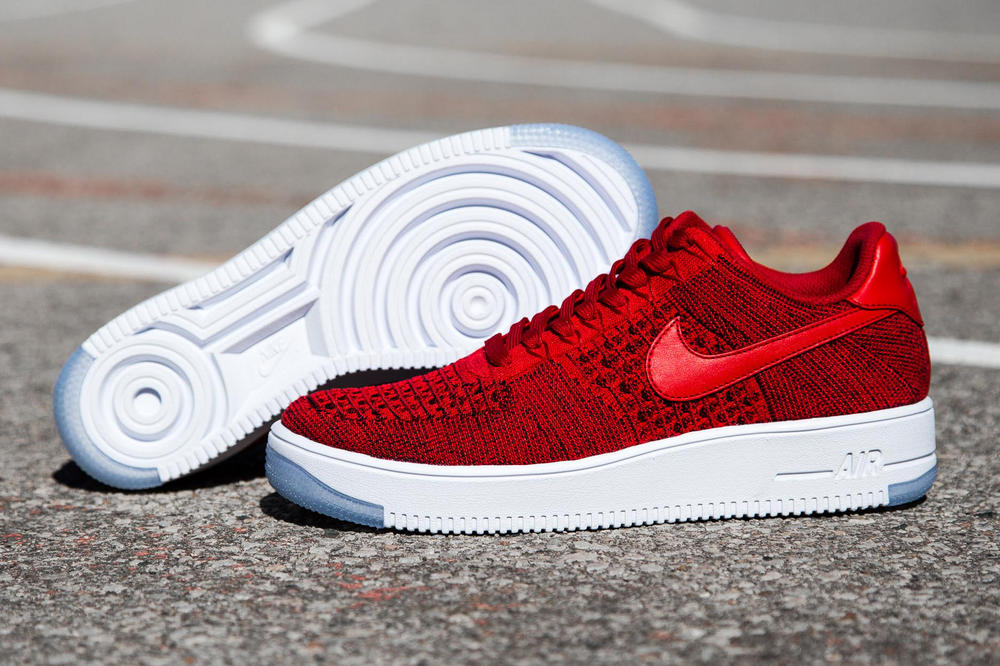 new product 2a442 25a90 Nike Air Force 1 Flyknit Sees Red