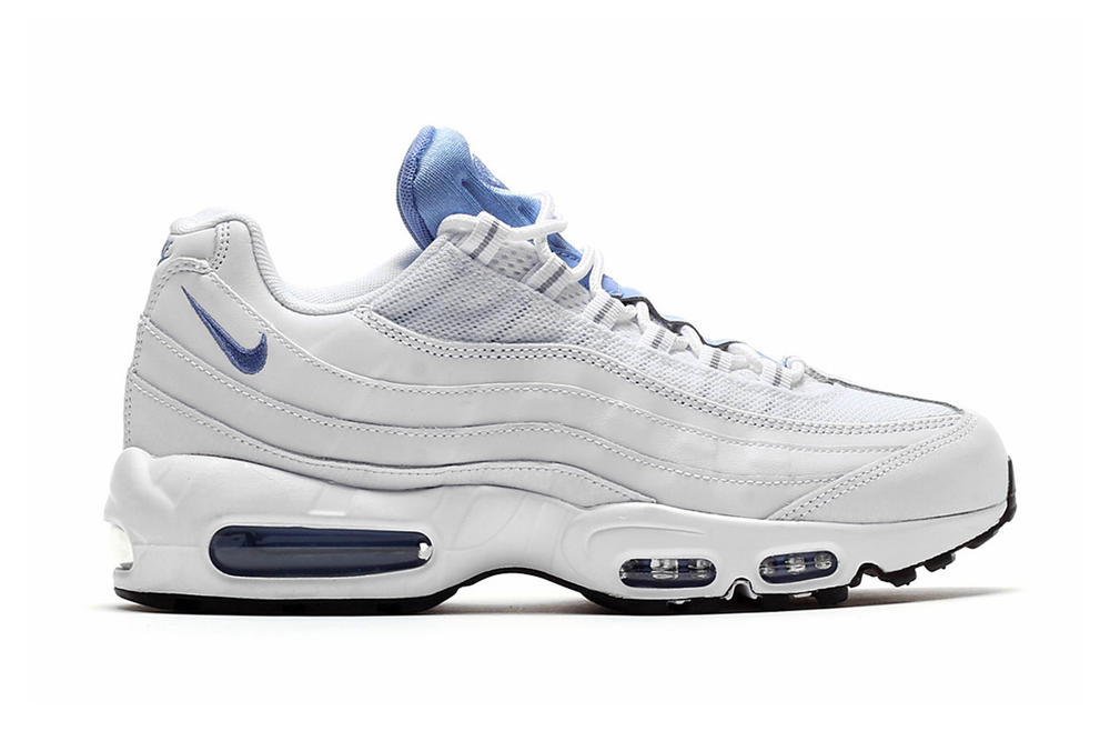 8dc1900a59 Baby Blue Accents the Nike Air Max 95 Essential. A clean and subtle look  for the classic.