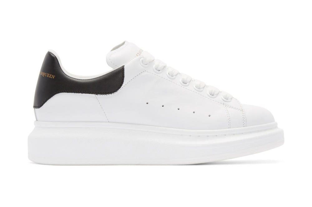 9f24130e1ebb Alexander McQueen White   Black Leather Platform Sneakers