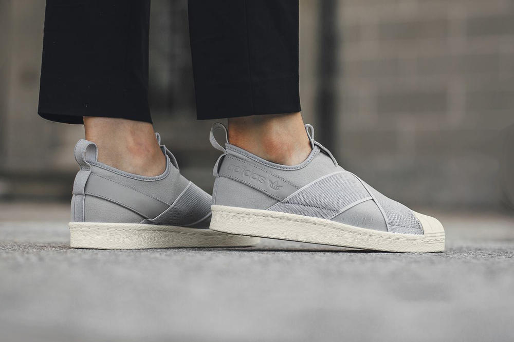 adidas superstar slip on gray