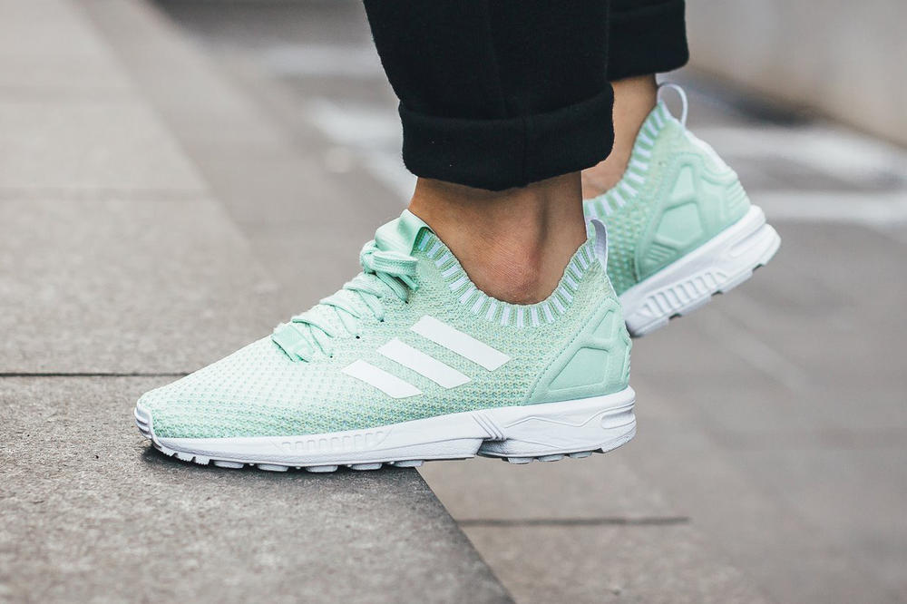 """c017fcb85b78e ... Receives a Minty Fresh Makeover. The sneaker returns in """"Vapour Green."""" adidas  ZX Flux Primeknit Vapour Green"""