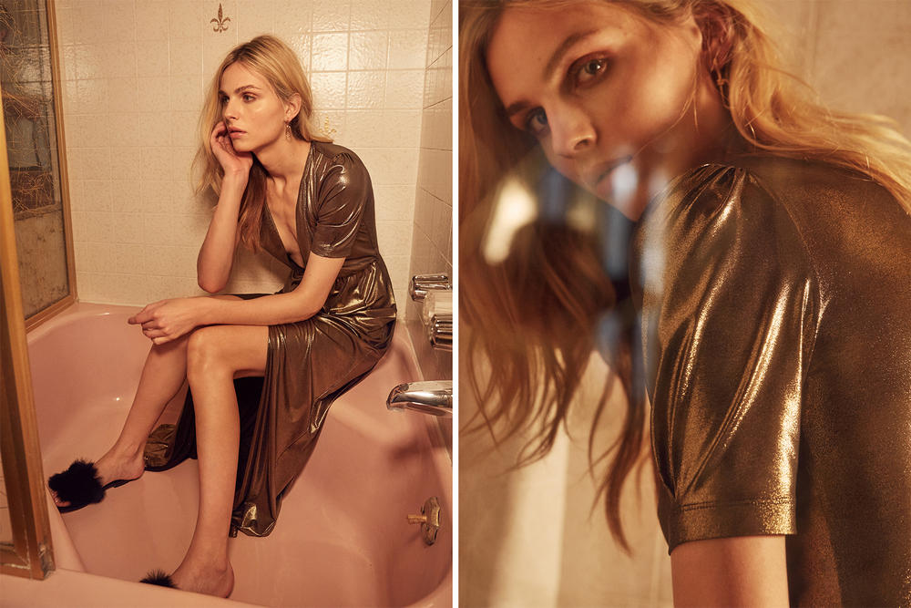 andreja pejic reformation holiday 2016 cocktail dress champagne velvet metallic christmas new year party