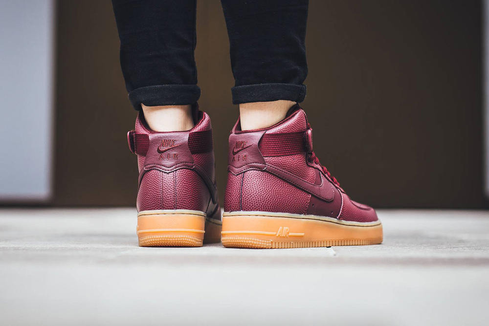 nike air force 1 hi se night maroon pebbled leather ankle strap gum midsole