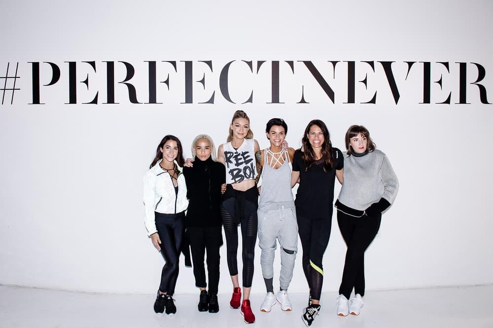 Gigi Hadid Lena Dunham Zoe Kravitz Reebok PerfectNever Panel