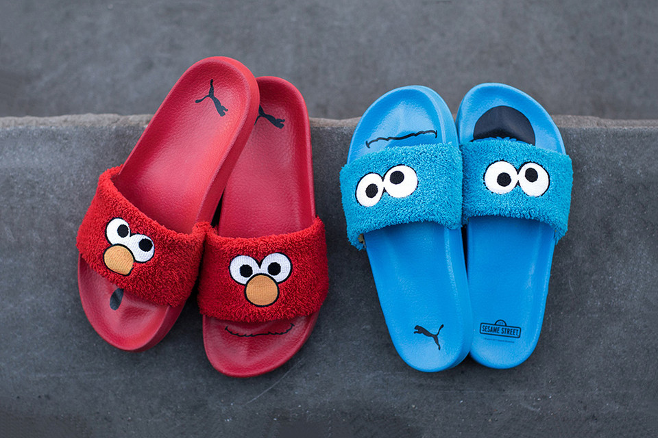 """c036e3635 The 'Sesame Street' x PUMA Collab Includes These Adorable Fuzzy Slides. """""""