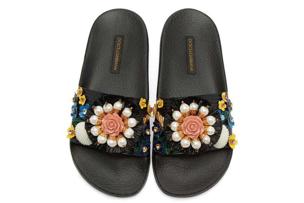 Dolce & Gabbana Black Flower Slide Pool Sandal