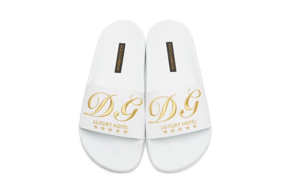 Dolce & Gabbana Luxury Hotel Velvet Slides Pink White
