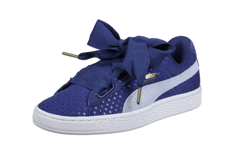 PUMA Basket Heart Denim Sneakers Twilight Blue Oatmeal