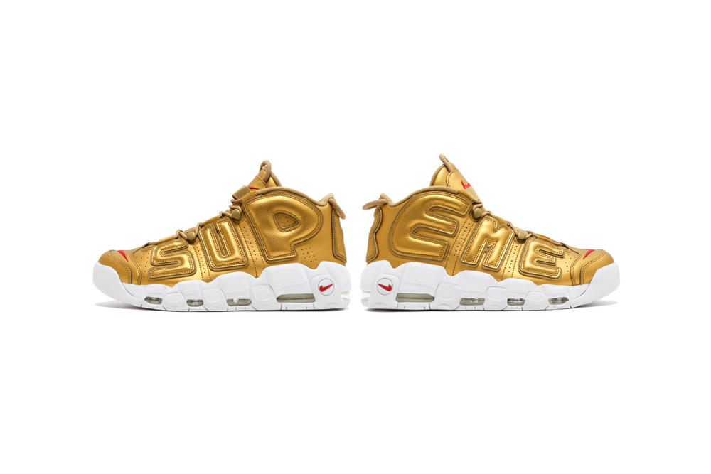 Supreme Nike Air More Uptempo Gold