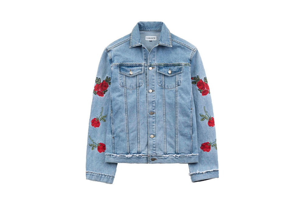 13MONTH Rose Embroidered Denim Jacket