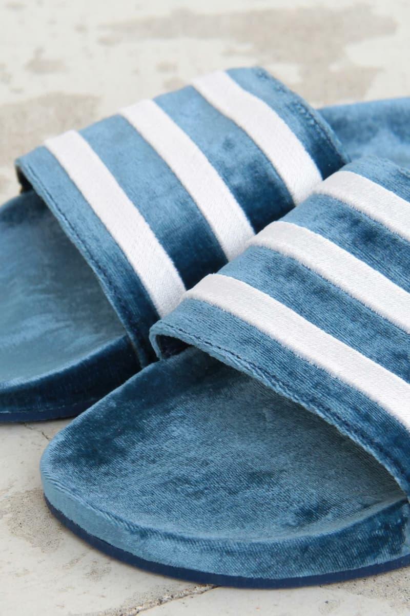 adidas Adilette Velvet Slide Blue Green