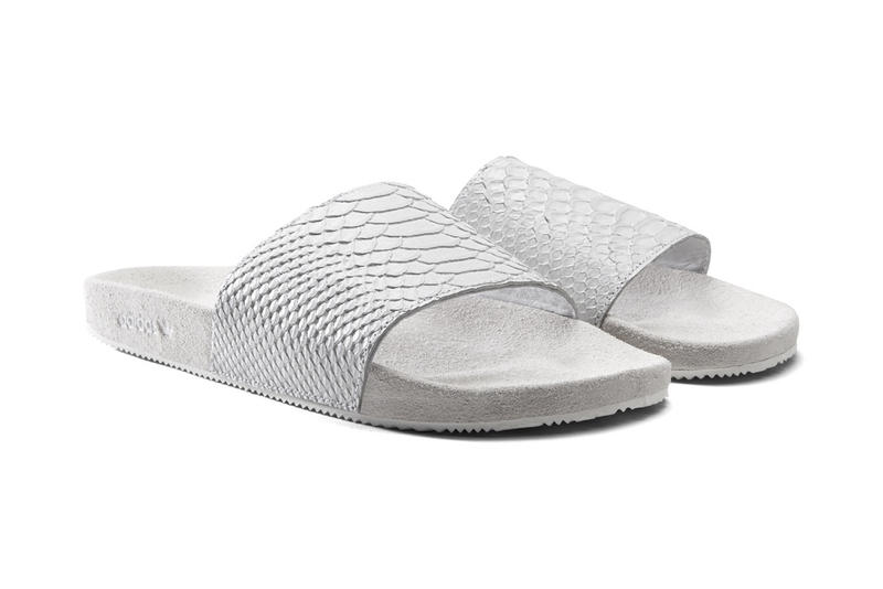 Exotic adidas Originals mi adilette Slides leather suede ostrich skin snakeskin