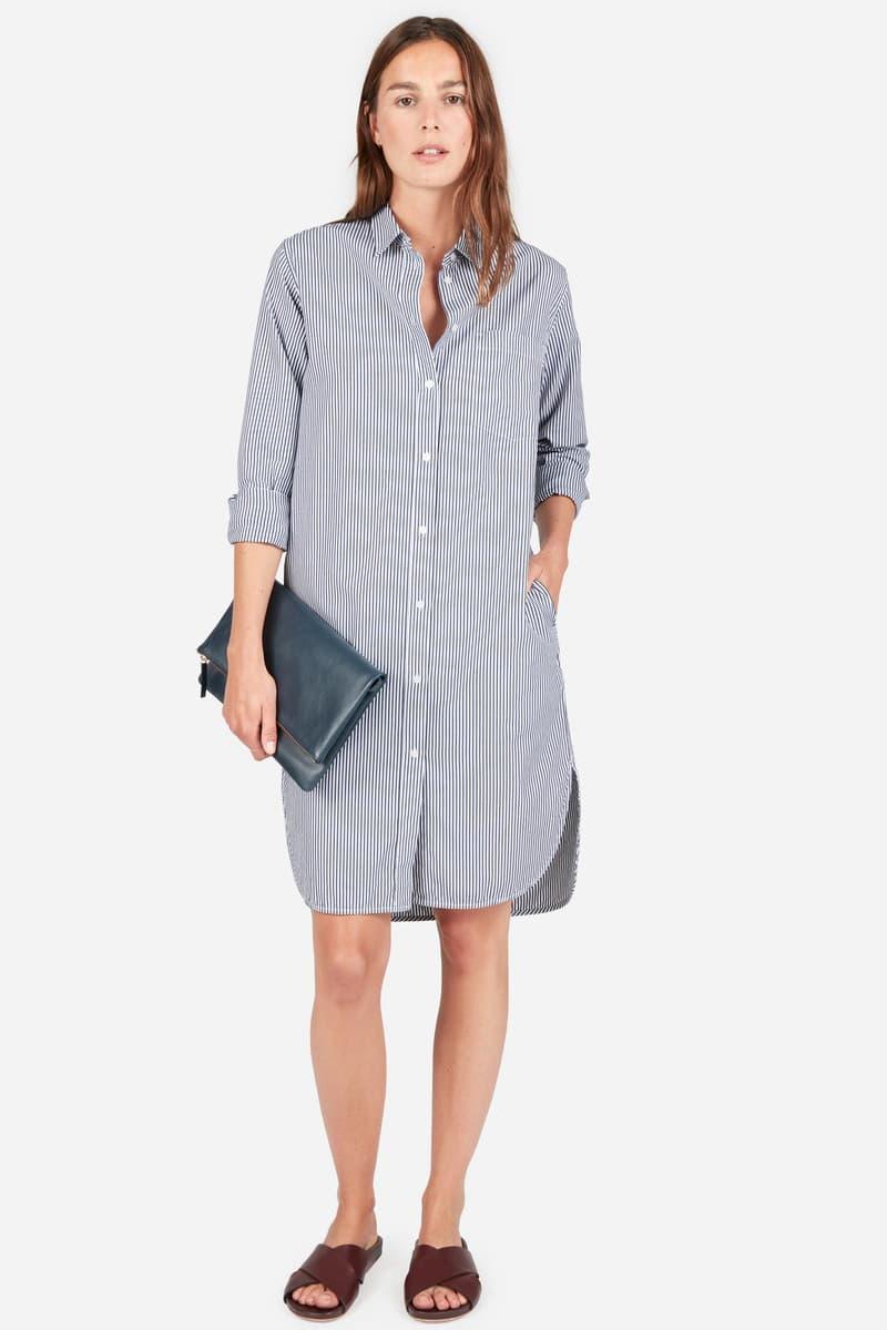 Everlane Shirt Dress Belted Striped Summer