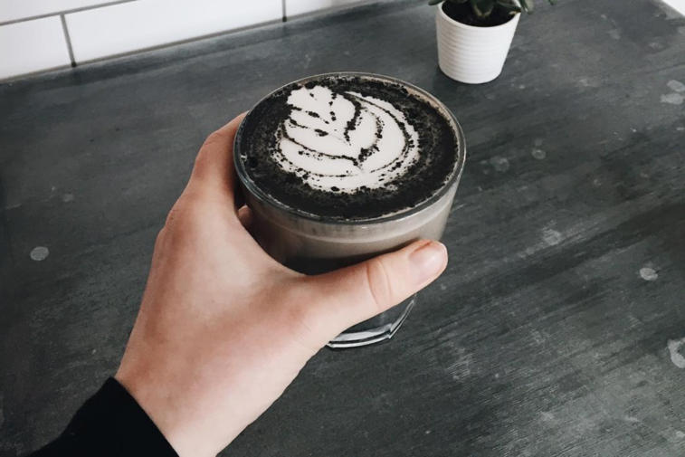 Goth latte instagram black coffee rainbow drinks
