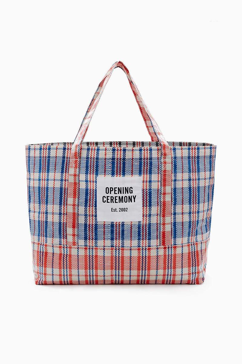 Opening Ceremony Laundry Bag Tote Chinatown Plaid Red White Blue Restock