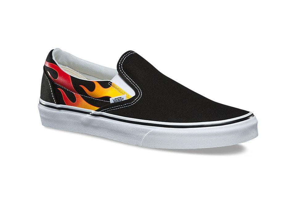 b018b83da412 Vans Stocks Fire Flames Slip-On