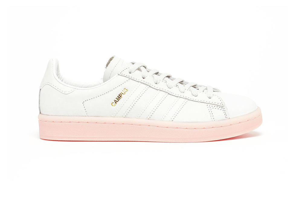 new styles 6262c ee97e adidas Originals Campus Crystal White Pink Sole