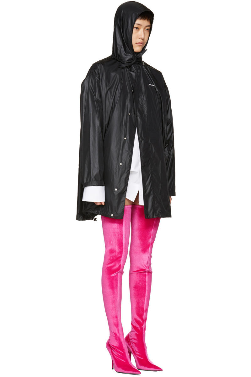 Balenciaga Over the Knee Boots Pink Velvet