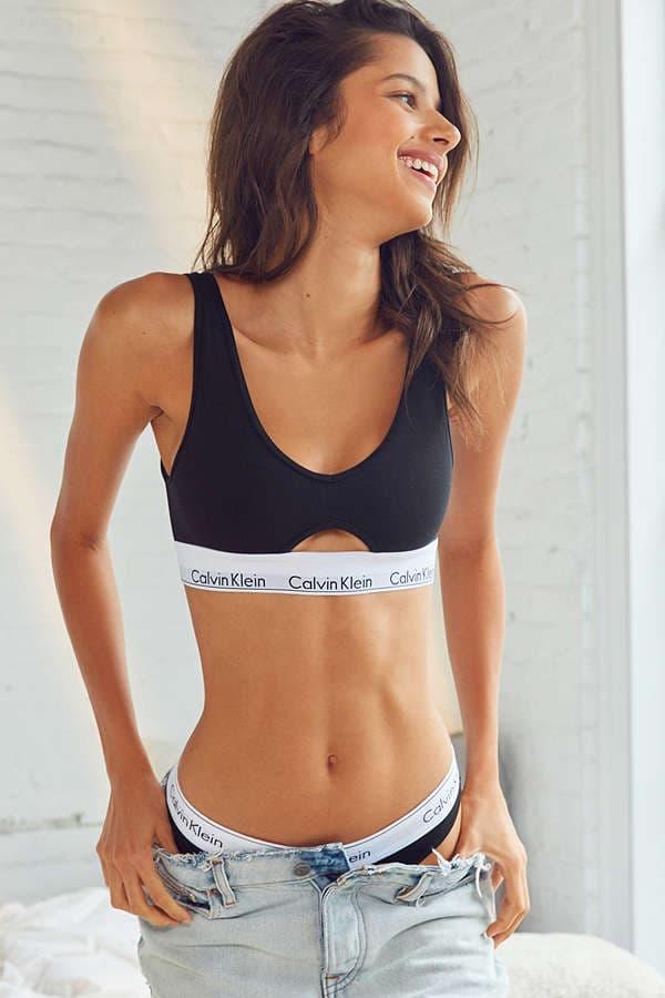 Calvin Klein Underwear Modern Cotton Cutout Bra Urban Outfitters Black Grey