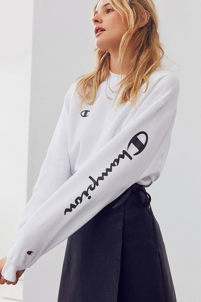 champion urban outfitters crewnecks sweater sweatshirt white