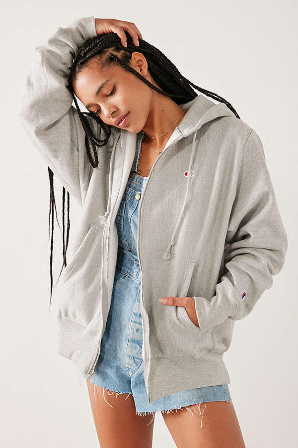 Champion Zip Up Hoodie Grey Black Red Urban Outfitters