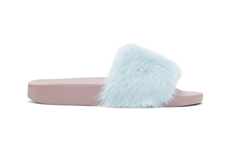 dolce gabbana fur slides in blue and black hypebae