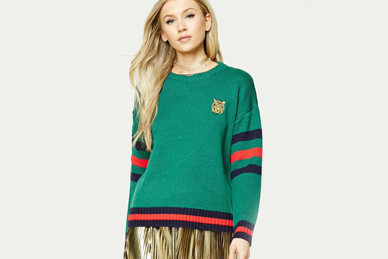 Forever 21 Tiger Embroidery Stripe Sweater Gucci