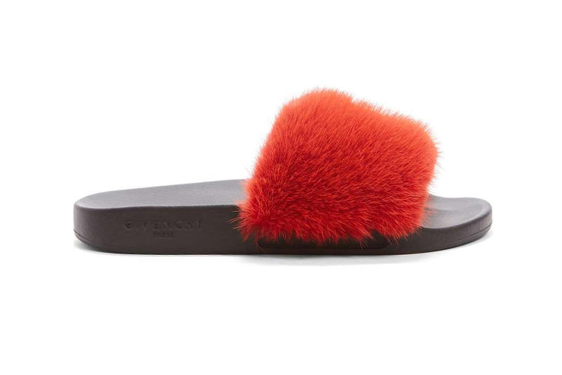 Givenchy Mink Fur Slide Pink Yellow Red
